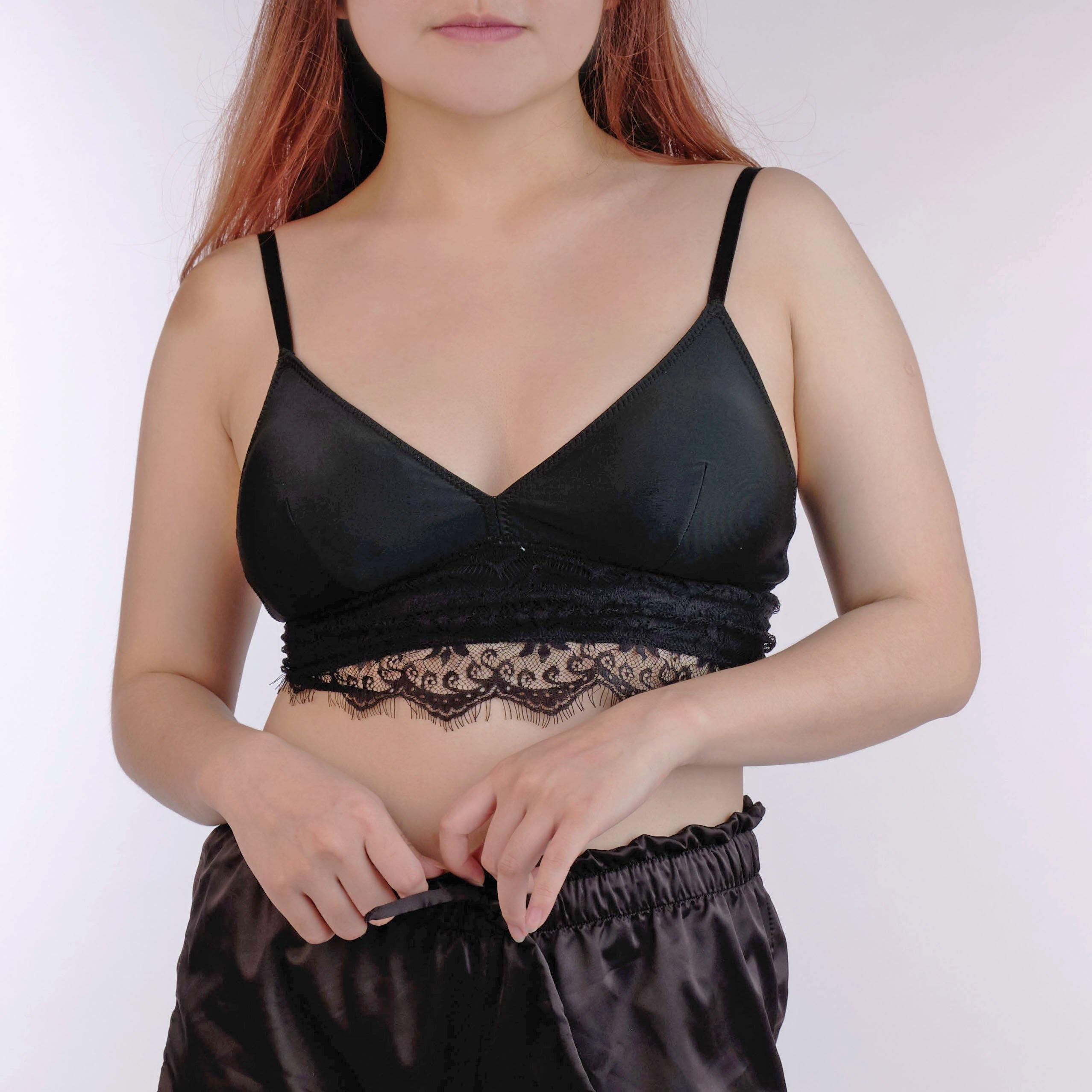 the joy padded midi bralette in black