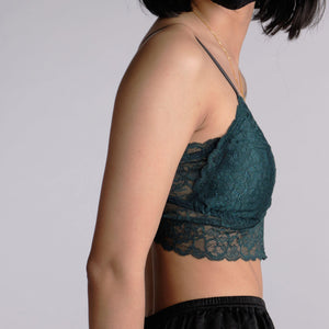 the best wishes padded midi bralette in moss
