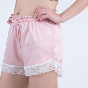 the stay home satin lace shorts in pink