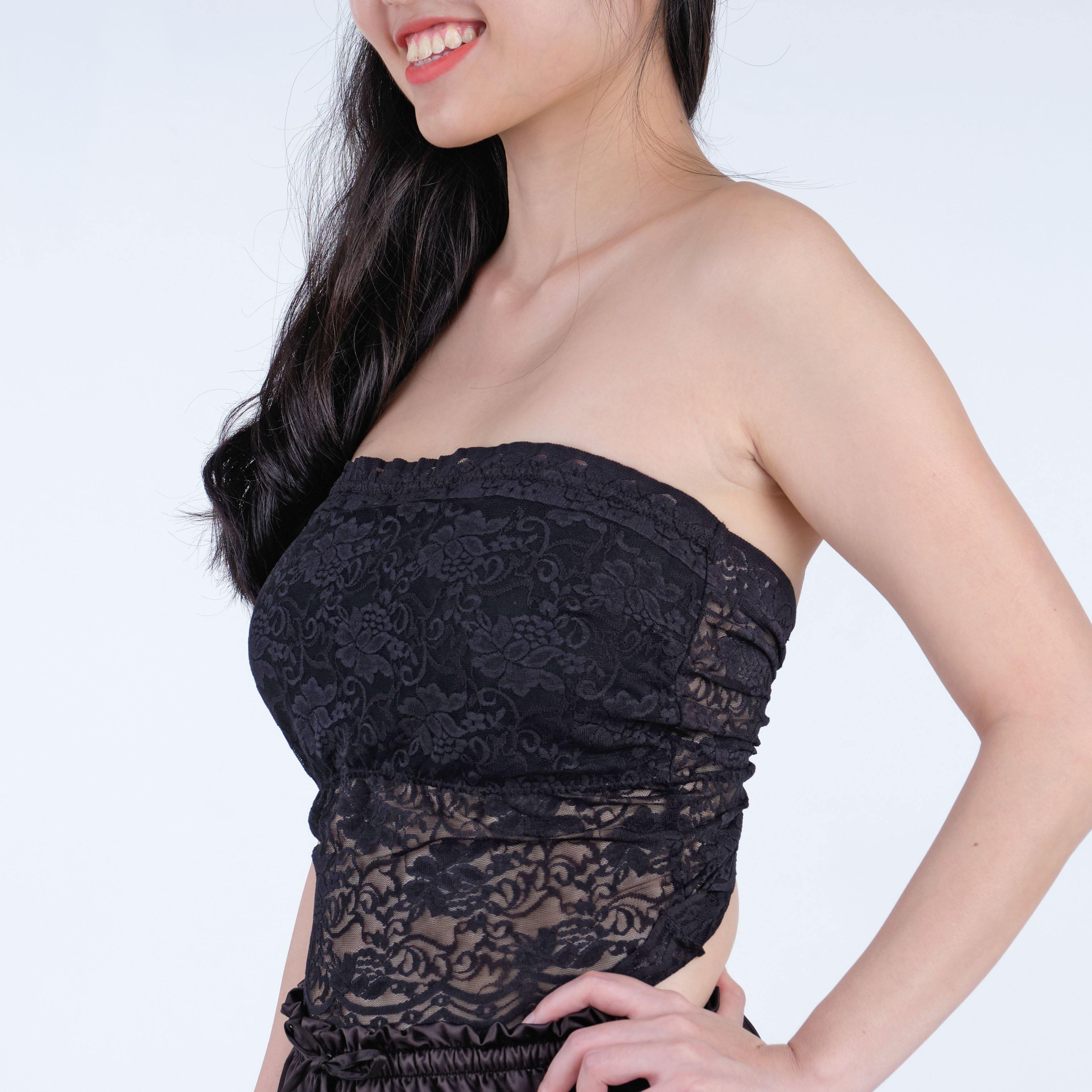 the lucked out padded strapless camisole in black