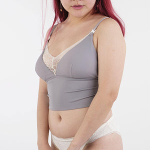 the full moon padded nursing camisole in grey