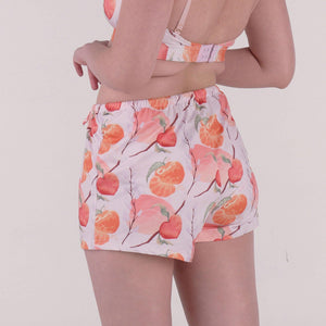 the sleep well shorts in fruitful print lilac