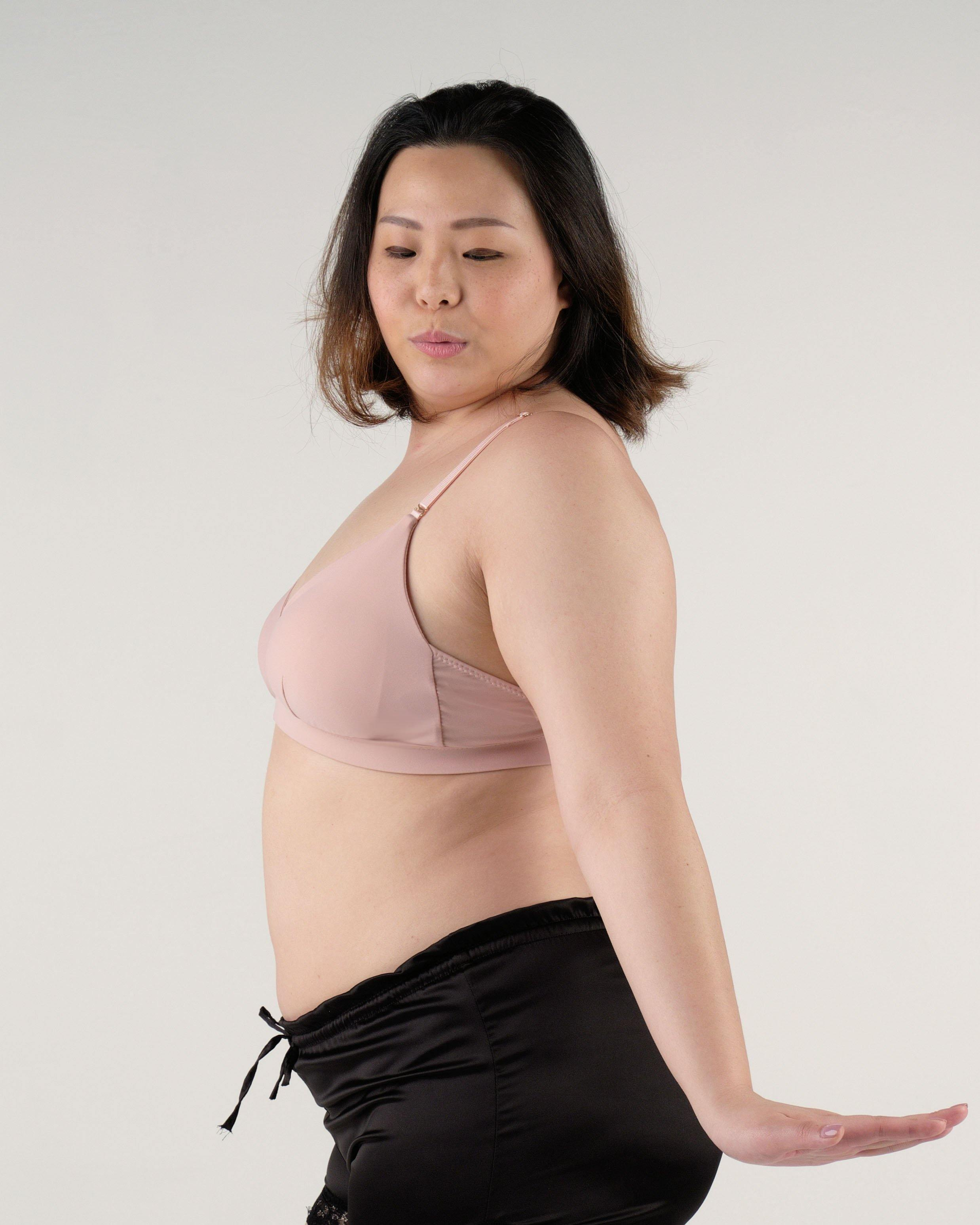 the roll with it padded active nursing bralette in pink
