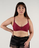 Load image into Gallery viewer, the roll with it padded active nursing bralette in maroon