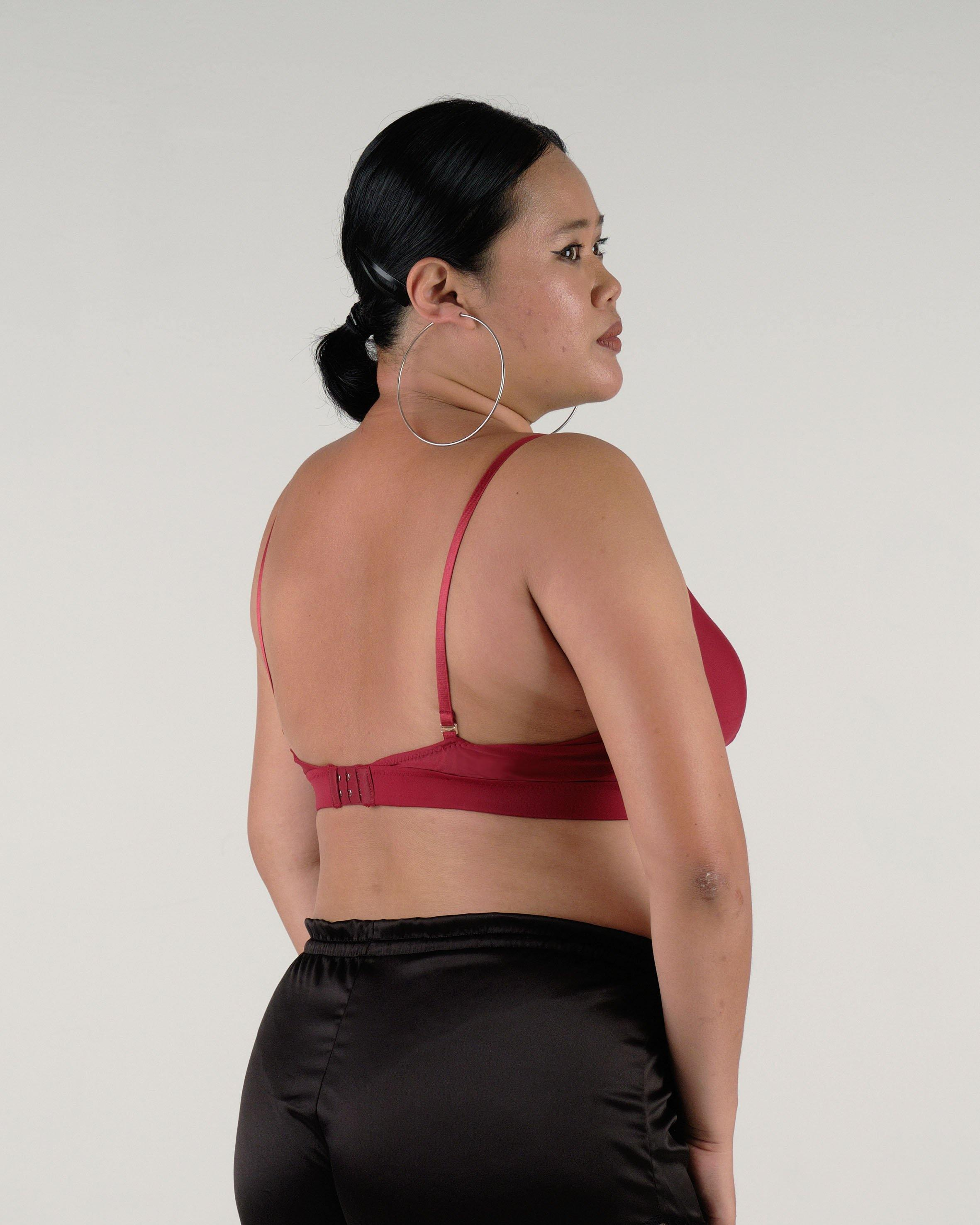 the roll with it padded active nursing bralette in maroon