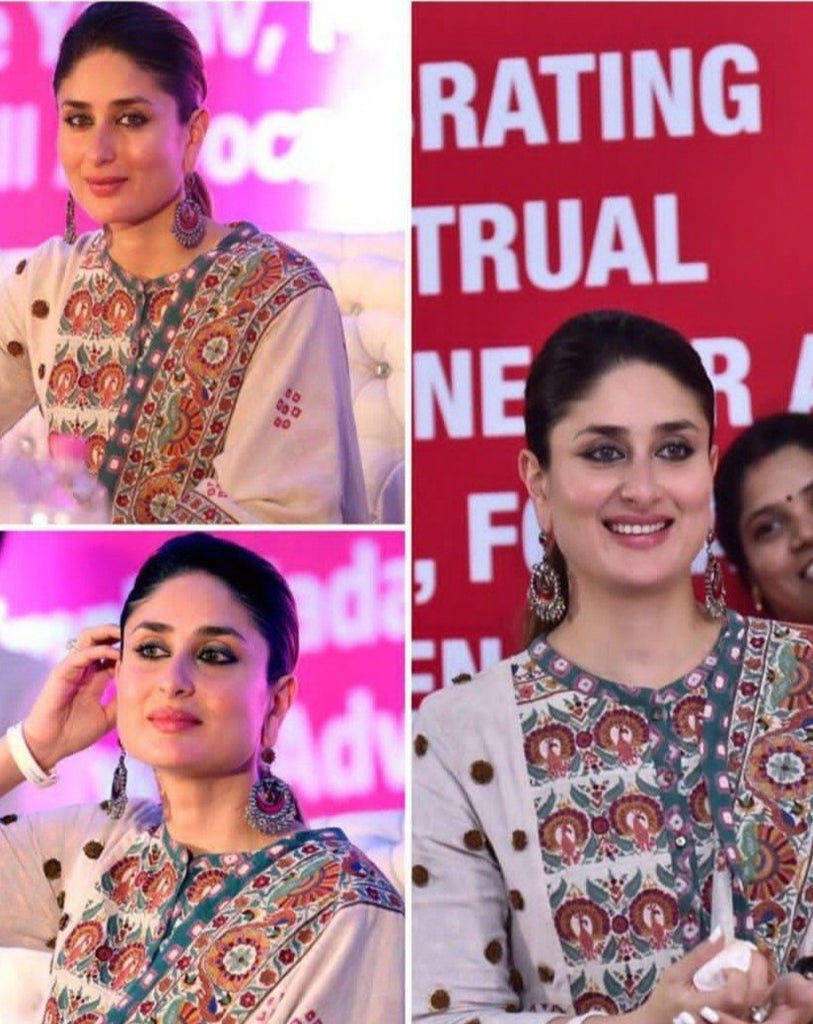 Kareena Kapoor Off white embroidered dupatta with tassels