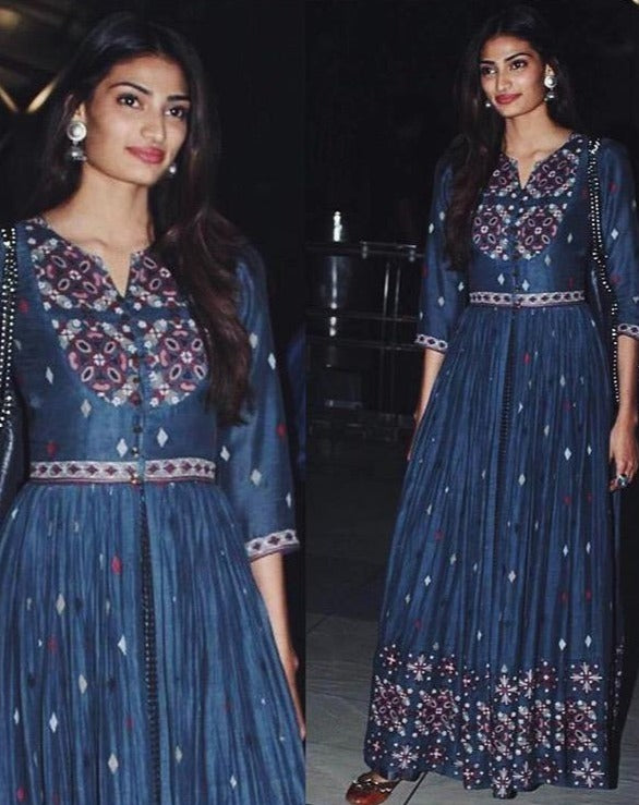 Athiya Shetty in Blue Embroidered Kurta