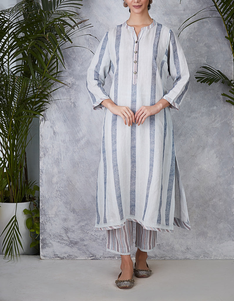 Blue Striped Kurta