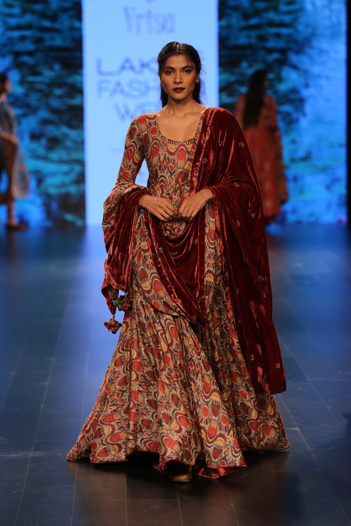 Rust Embroidered Velvet Dupatta