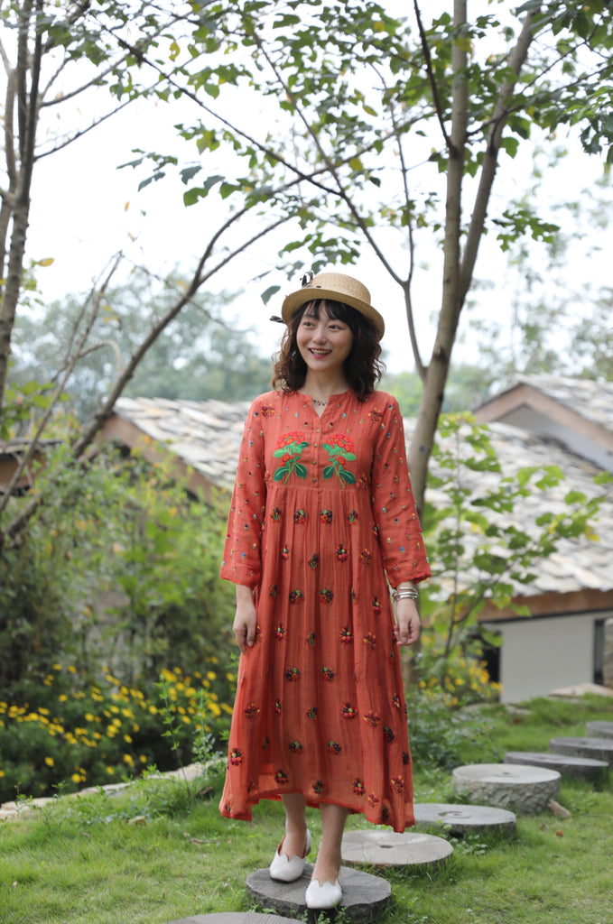Terracotta Hand Embroidered Dress