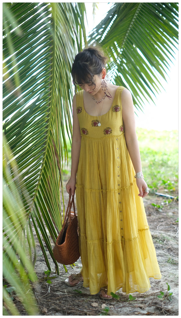 Deep Yellow Embroidered Dress