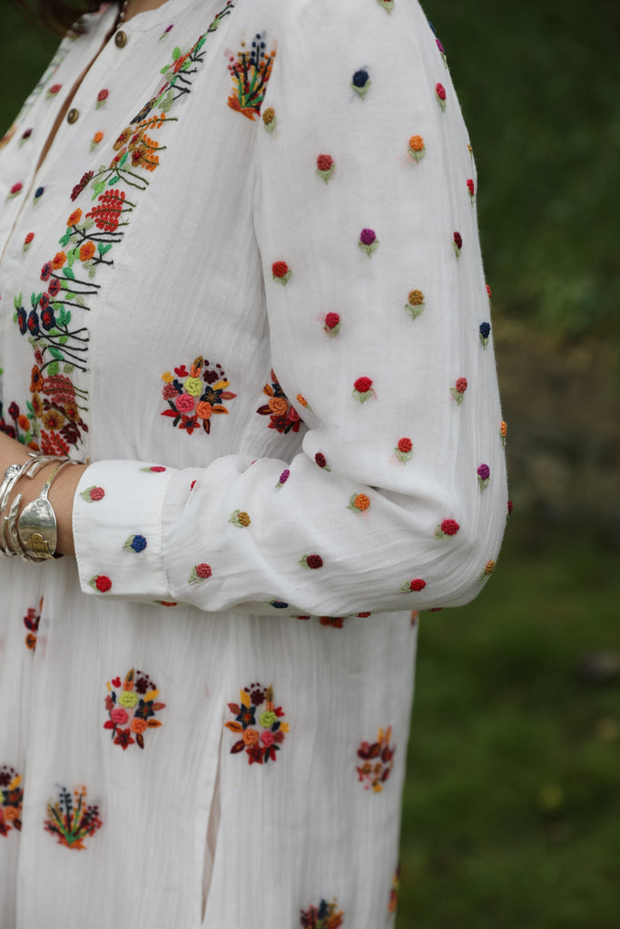 Ecru Hand Embroidered Kurta