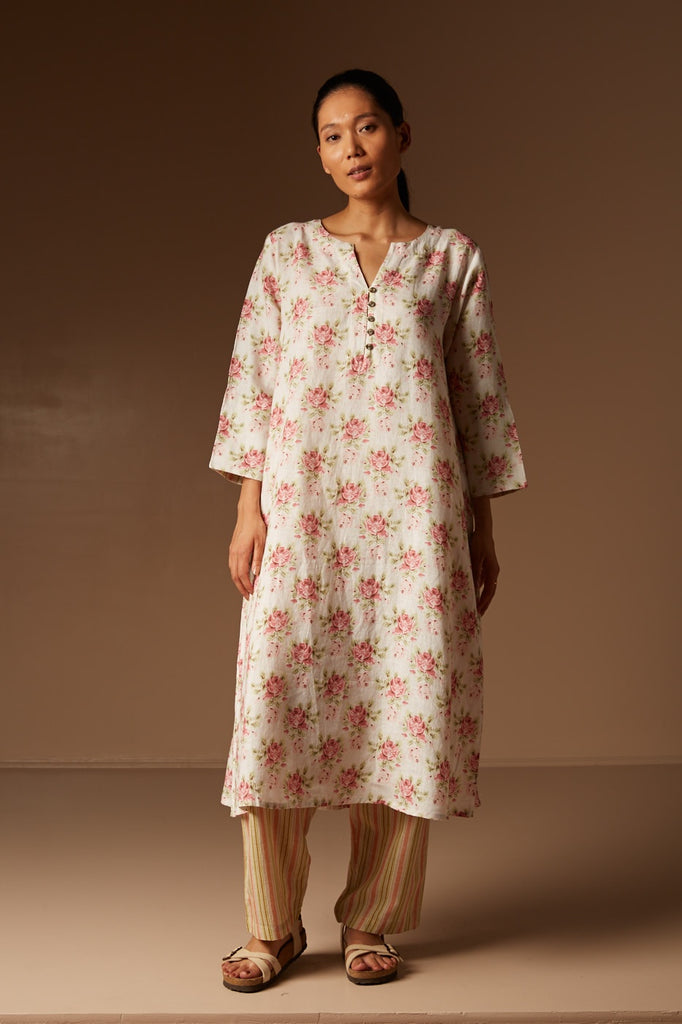 Off White Printed Kurta