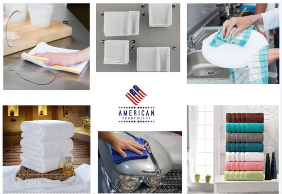 American Terry Mills provides you the top quality towels and cleaning rags for all your cleaning needs. Choose from our exclusive collections for Gyms, Salons, Spa, Home , Auto Detailing and more.