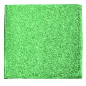 "12 x 12"" Green Heavy Duty Microfiber Towel (24 Pack)"