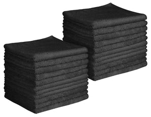 "16 x 16"" Black Professional Grade Microfiber Cleaning Towel (Pack of 24)"