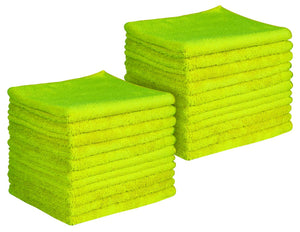 "16 x 16"" Lime Green Professional Grade Microfiber Towel (Pack of 24)"