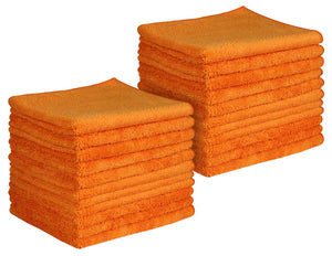 "16 x 16"" Orange Professional Grade Microfiber Towel (Pack of 24)"