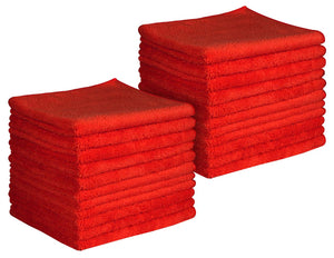"16 x 16"" Red Professional Grade Microfiber Towel (Pack of 24)"