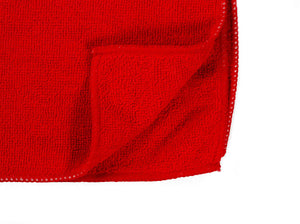 "16 x 16"" Red Economy Microfiber Towel (36 Pack)"