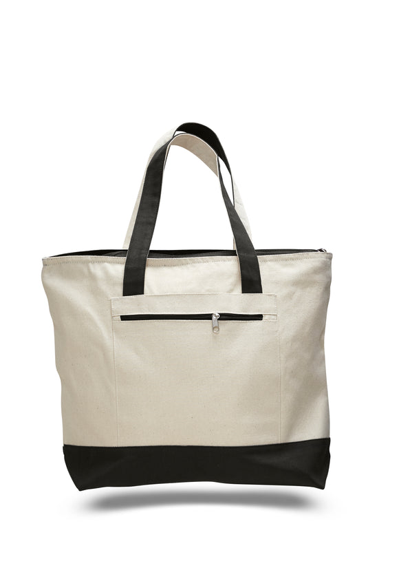 Heavy Canvas Zippered Shopping Tote Bag 18