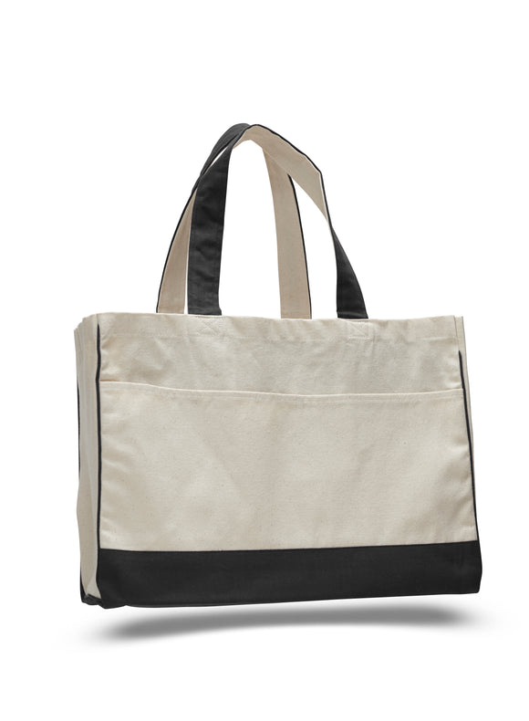 Cotton Canvas Tote Bag with Inside Zipper Pockets 17