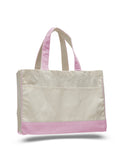 "Cotton Canvas Tote Bag with Inside Zipper Pockets 17""W x 13""H x 5""D"