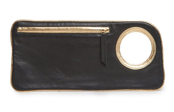 Hands-Free Bracelet Clutch - Medium - Black Matte with Gold Ring
