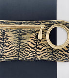 Hands Free Bracelet Clutch - Medium - Tiger Print on Suede