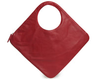 Diamond Shoulder Bag in Red with Pearl Trim