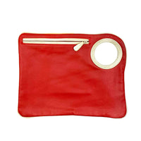 Hands-Free Bracelet Bag - Large Clutch in Red with Pearl Ring