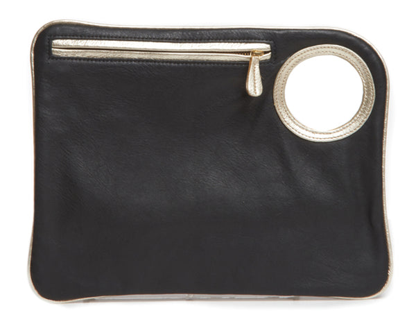 Hands-Free Bracelet Bag - Large Clutch in Black with Pearl Ring