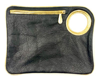 Hands-Free Bracelet Bag - Large Clutch in Black with Gold Trim