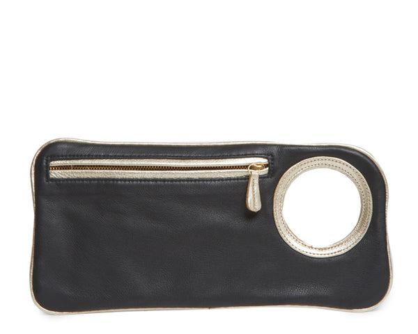 Hands-Free Bracelet Clutch - Medium - Black Matte with Pearl Ring