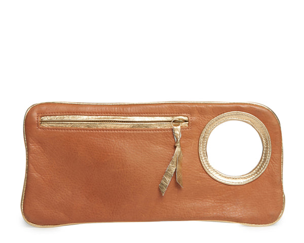 Hands-Free Bracelet Clutch - Medium - Whiskey with Gold Ring