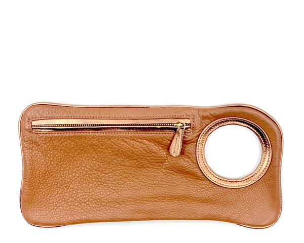 Hands-Free Bracelet Clutch - Medium - Whiskey with Copper Ring