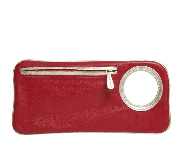 Hands-Free Bracelet Clutch - Medium - Red Leather with Pearl Ring