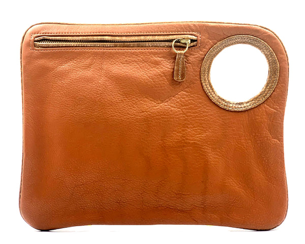 Hands-Free Bracelet Bag - Large Clutch in Whiskey with Copper Ring