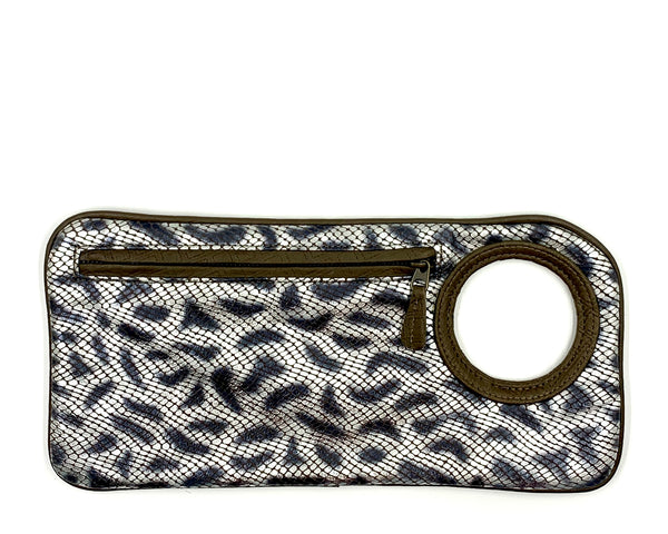 Hands-Free Bracelet Clutch - Medium - Leopard Print Embossed with Olive Ring