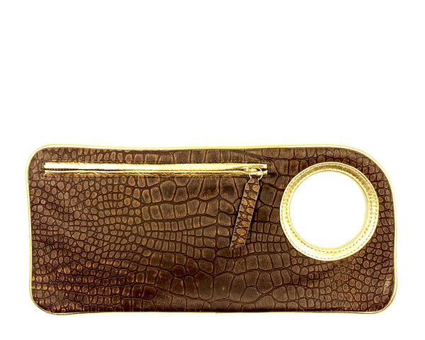 Hands-Free Bracelet Clutch - Medium - Brown Embossed
