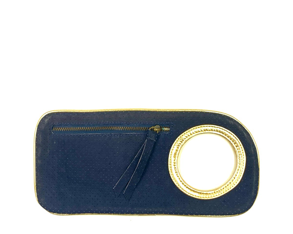Hands-Free Bracelet Wallet in Wallet Perforated Navy with Gold Ring