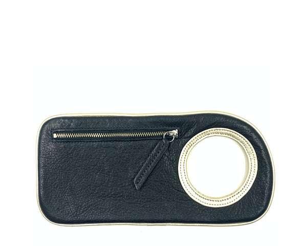 Hands-Free Bracelet Wallet in Black with Silver Ring