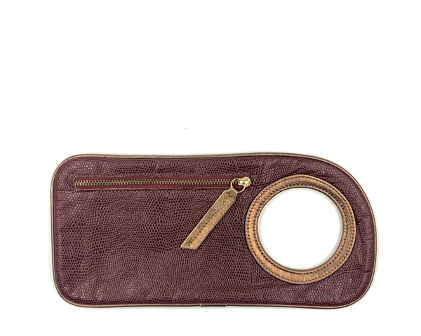 Hands-Free Bracelet Wallet in Embossed Brick with Copper Ring