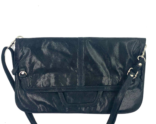 Messenger/Laptop Bag in Black Suede with Sparkly Clear Dot