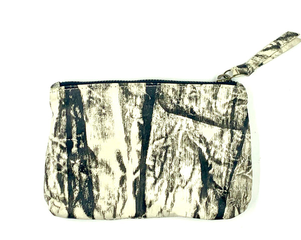 Make Up Pouch in Paint Brush Print Over Lamb Skin
