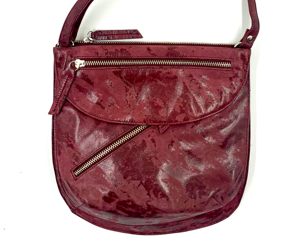 Rolita Crossbody Bag in Distressed Dark Rose on Suede LIMITED EDITION