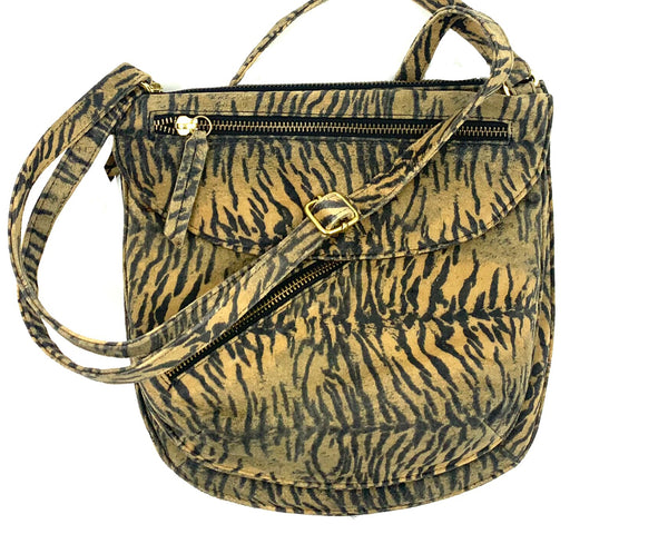 Rolita Crossbody Bag in Tiger Print on Suede LIMITED EDITION