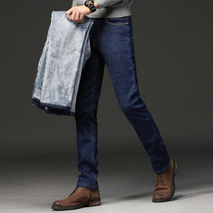 Free Shipping Warm Stretch High Quality Men Jeans Hot Sales Popular Long Pants For Male
