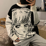 Privathinker Men's Casual Loose Sweaters Cartoon Graphic Printed Pullovers Korean Streetwear Sweaters Male Clothing