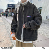 Privathinker Winter Warm Lambswool Jacket Parkas For Men Korean Solid Color Oversized Man Casual Thicken Coats Male Jacket
